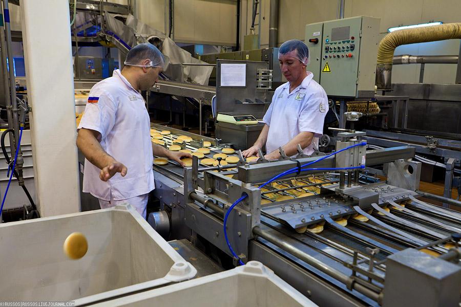 ...жителя нашей планеты(всего на заводе работает 257 служащих, в две смены по 12 часов)- отбраковка нехороших булок.