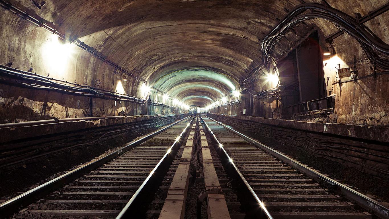 картинка, метрополитен, рельсы, шпалы, провода, туннель, метро, вагоны, обои для рабочего стола, full hd обои...
